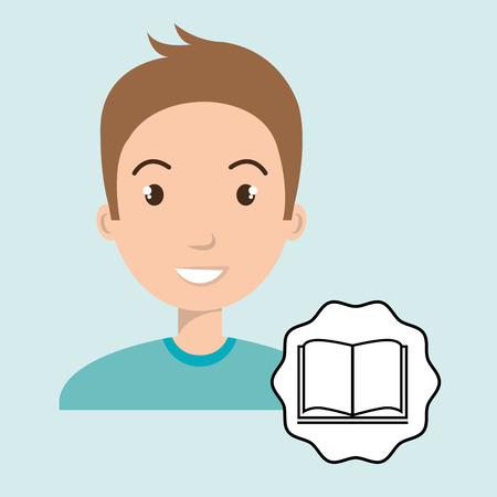 man adul young book vector illustration Illustration