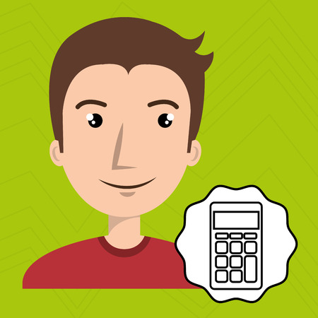 adulation: man adult young calculator vector illustration Illustration