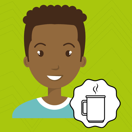 hot lips: man adul young cup coffee vector illustration