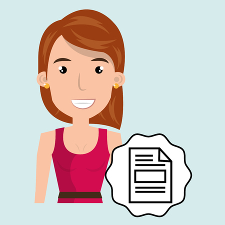 happy woman: woman happy face paper vector illustration Illustration
