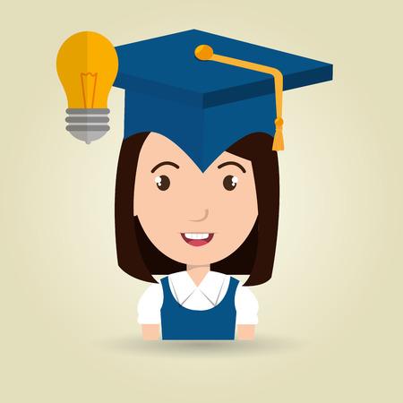 student graduation cap idea vector illustration