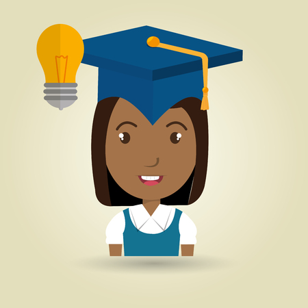 literacy: student graduation cap idea vector illustration