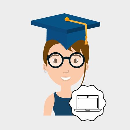 literacy: student graduation cap laptop vector illustration