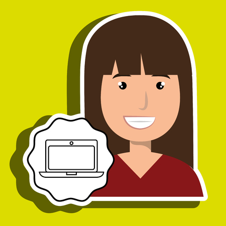 happy woman: woman happy face laptop vector illustration