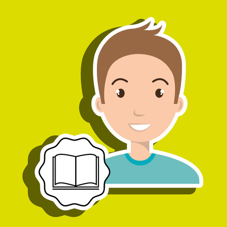 man adul young book vector illustration