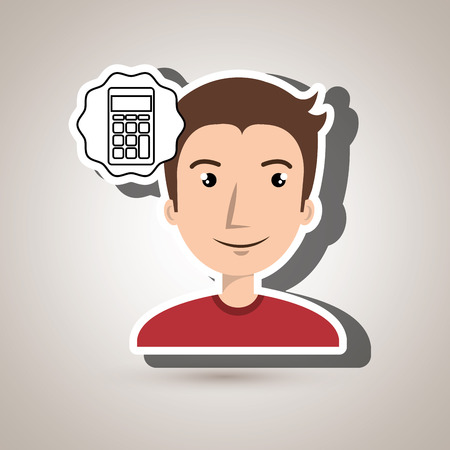 adulation: man adul young calculator vector illustration