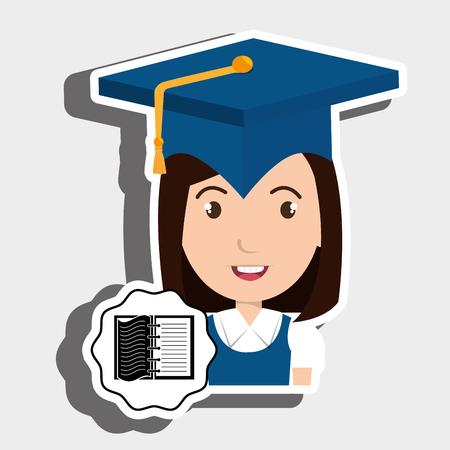 student graduation cap notebook vector illustration