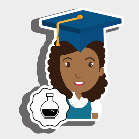 student graduation cap tube lab vector illustration