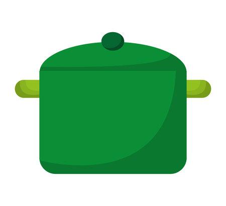 kitchen pot green icon vector illustration design
