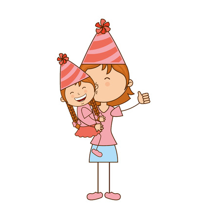 celebration smiley: girl with hat party icon vector illustration graphic