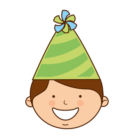 celebration smiley: boy with hat party icon vector illustration graphic