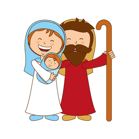 holy family character manger icon vector illustration graphic