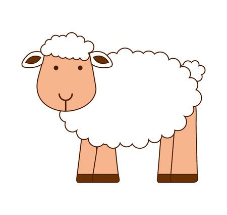 farmyard: sheep cute character icon vector illustration graphic