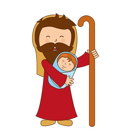 nativety: saint joseph character icon vector illustration graphic