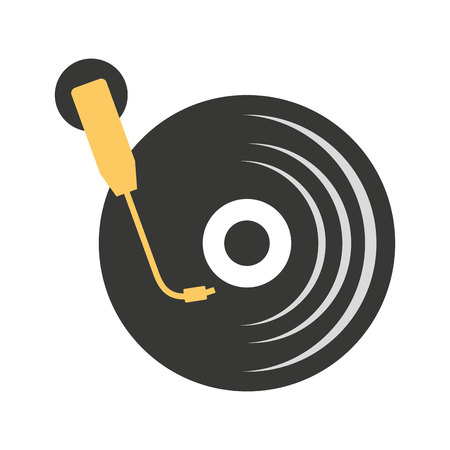 long play: long play disk player icon vector illustration design