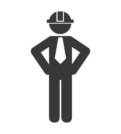 construction icon: professional construction worker icon vector illustration design