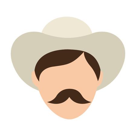 cafe colombiano: agricultor hombre icono de caf� de Colombia ilustraci�n vectorial de dise�o