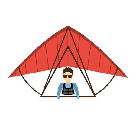 parachute jump: paraglinding extreme sport icon vector illustration design Illustration