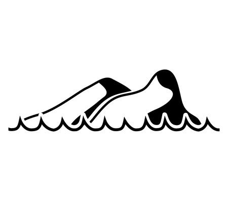 moutain: waves sea mountains silhouette icon vector illustration design