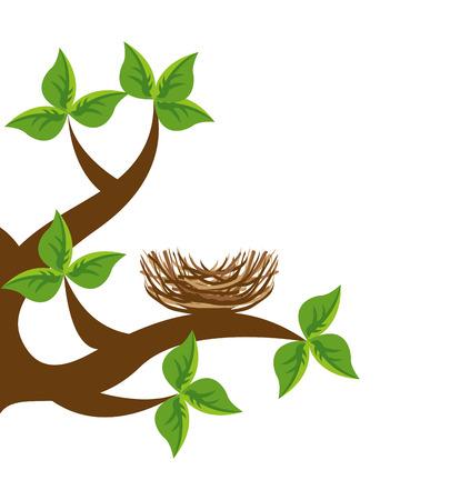 branche d'arbre nid d'oiseau icône illustration vectorielle icône