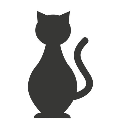 cat mascot pet silhouette icon vector illustration icon