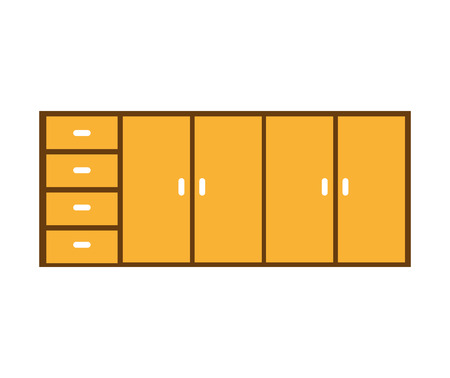 drawers: kitchen drawers isolated icon vector illustration graphic Illustration