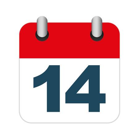 14 february: calendar 14 february icon vector illustration graphic