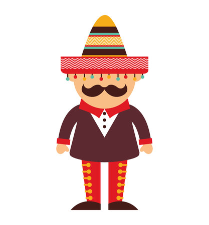 mexican man character icon vector illustration icon 矢量图片