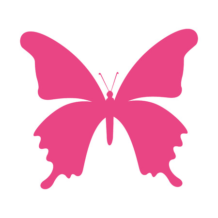 butterfly silhouette: butterfly silhouette pink isolated icon vector illustration icon Illustration
