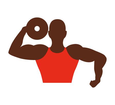 estereotipo: hombre fuerte africano icono culturista ilustraci�n vectorial de dise�o