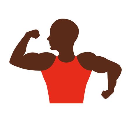 estereotipo: strong man african bodybuilder icon vector illustration design