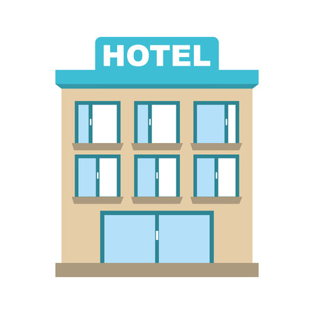 hotel building: building hotel silhouette icon vector isolated graphic