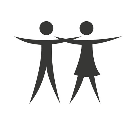 sillouette: couple silhouette isolated icon vector illustration design