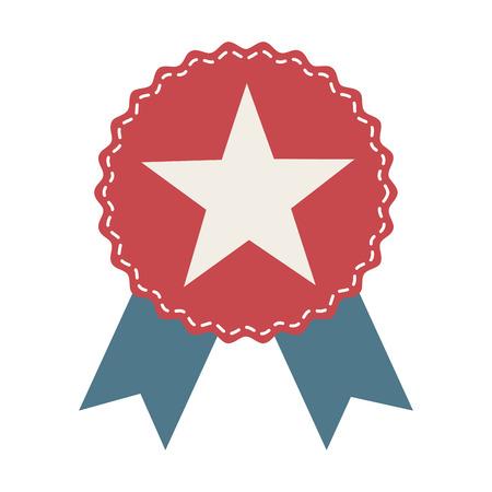 medal ribbon: medal ribbon star icon vector illustration design