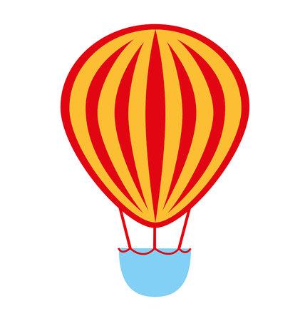 balloon air basket flying icon vector illustration design Illustration