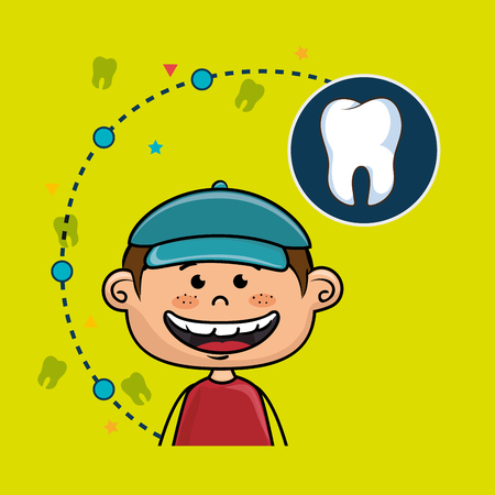 cartoon Child smiling with open mouth showing teeth over a green background and a big tooth on a blue background
