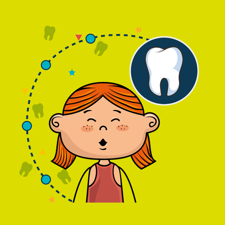 girl mouth open: ginger girl open her mouth over a green background with an icon of a tooth on the right in a dark blue circle Illustration