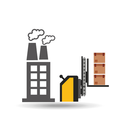 factory automation: factory and technolgy machine, industry icon, vector illustration Illustration