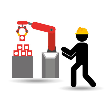 technolgy: engineering with technolgy machine, industry icon, vector illustration