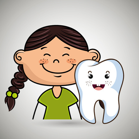 smiling cartoon girl and tooth over a white background,dental care