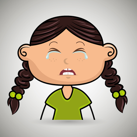 frontal: crying cartoon girl with frontal vier over a white background,vector illustration