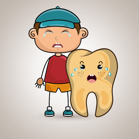 aching: crying cartoon boy wearing colored clothes with a cartoon crying tooth on his side