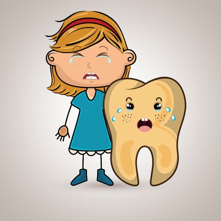 sad little girl: sad crying cartoon girl with a big cartoon tooth and a toothache, vector illustration