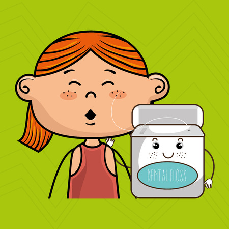 coloured: smiling cartoon girl wearing coloured clothes holding a smiling cartoon container over a green background vector illustration