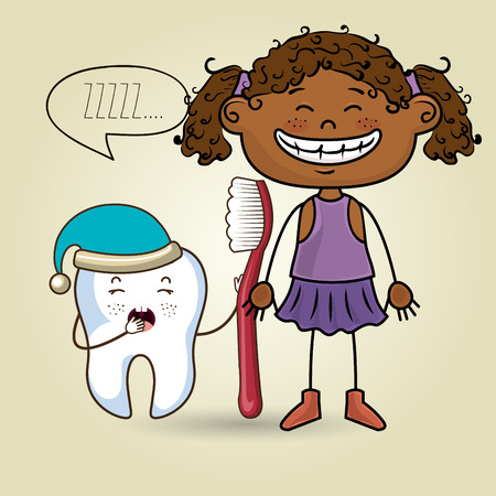 it girl: cartoon girl wearing coloured clothes holding a toothbrush and a cartoon sleepy tooth wearing a hat and a text mark above it over a coloured background vector illustration