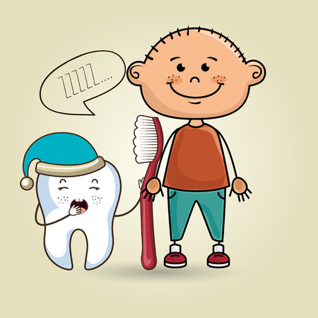 smiling cartoon child wearing coloured clothes holding a toothbrush next to a cartoon sleepy tooth with a hat and a text cloud above it over a colored background vector illustration Vettoriali