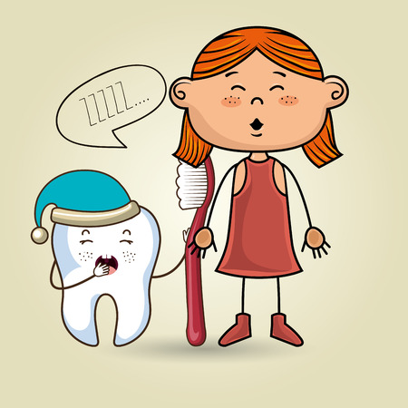sleepy: cartoon girl wearing coloured clothes holding a toothbrush and a cartoon sleepy tooth wearing a hat and a text mark above it over a coloured background vector illustration