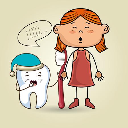 pasta de dientes: chica de dibujos animados que llevaba ropa de color que sostienen un cepillo de dientes y un diente sueño historieta que lleva un sombrero y una marca de texto por encima de ella sobre un fondo de color ilustración vectorial