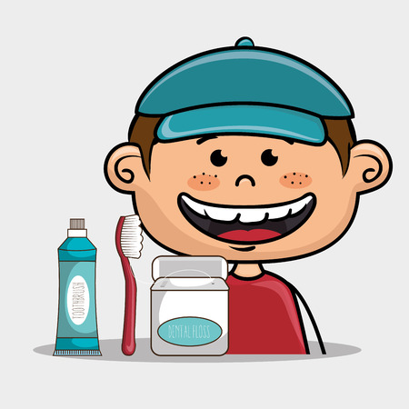 implements: smiling cartoon child wearing blue cap and red shirt  with dental care implements over a white background vector illustration Illustration