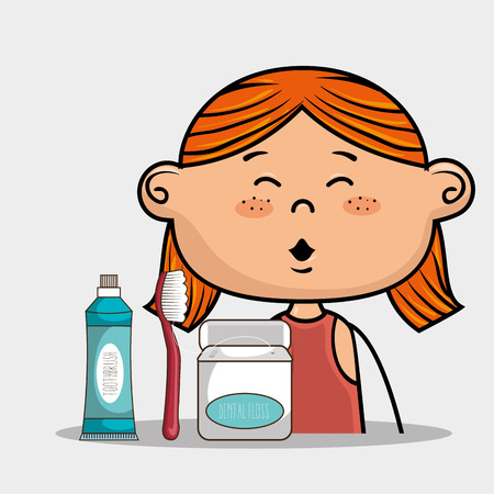 happy smiling cartoon girl wiht dental care implements over a white background vector illustration
